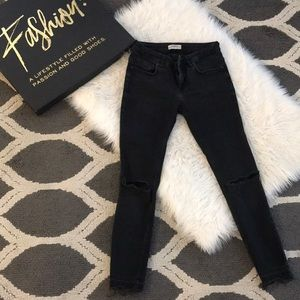 Zara black skinny jeans with ripped knees